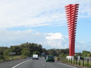 bradman red border sculpture
